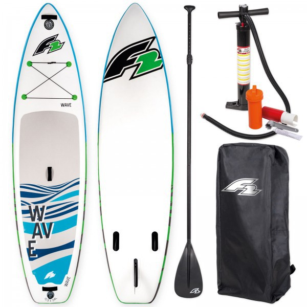 F2 SUP WAVE 2018 STAND UP PADDLE BOARD AUFBLASBAR + PADDEL BAG PUMPE