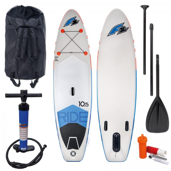 F2 | Ride | 2019 INKLUSIVE TASCHE, BRAVO-PUMPE & REPAIR KIT + 3-TEILIGES PADDEL (165 - 215 cm)