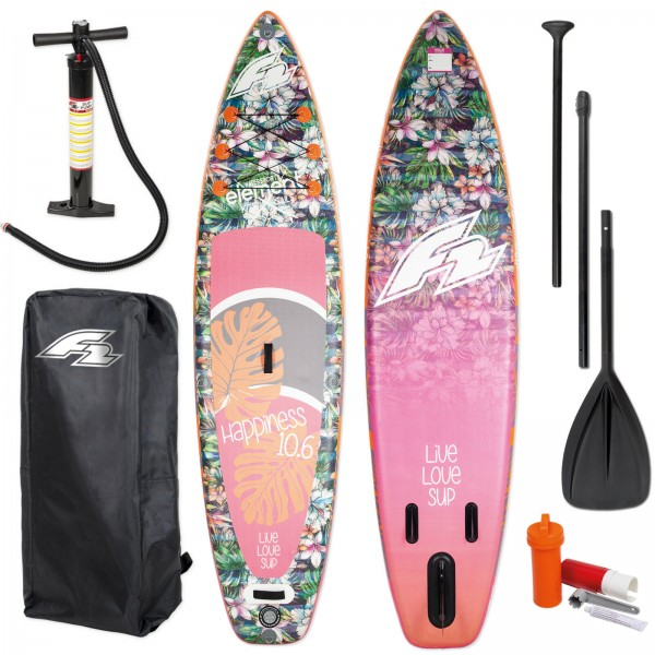 F2 SUP HAPPINESS 2019 STAND UP PADDLE BOARD AUFBLASBAR + PADDEL BAG PUMPE