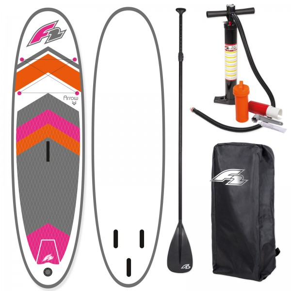 F2 SUP ARROW WOMAN 2018 STAND UP PADDLE BOARD AUFBLASBAR + PADDEL BAG PUMPE
