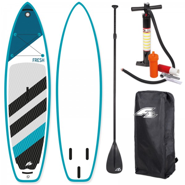 F2 SUP FRESH  2018 STAND UP PADDLE BOARD AUFBLASBAR + PADDEL BAG PUMPE